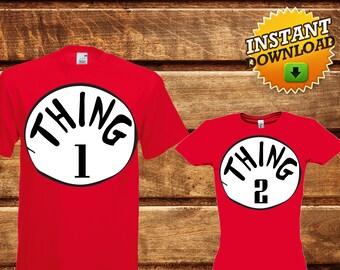 Set Thing 1 Thing 2 Iron On Transfer,Printable Thing 1 Thing 2 T-shirt,Dr. Seuss iron on transfer,Dr Seuss printable, Dr Seuss T-Shirt -DIY