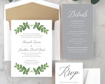 Green Laurels Wedding Invitations