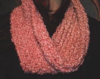 Peach orange cowl infinity scarf handmade knit soft warm winter