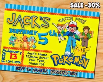 Pokemon Birthday, Pokemon Invitation, Pokemon Party, Pokemon Invites, Pokemon Printables, Pokemon GO Printable Invite, Pikachu, Charmander