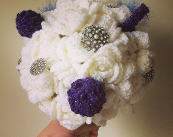 Cream and lavender crocheted bouquet