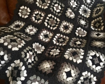 Grey Scale Granny Square Afghan