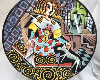 Ceramic plate of 27 cm. Cubist art, Picasso style, hand painted