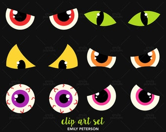 Clip Art Spooky Eyes Clip Art spooky eyes clipart etsy creepy eyeballs cute vector clip art commercial use instant download