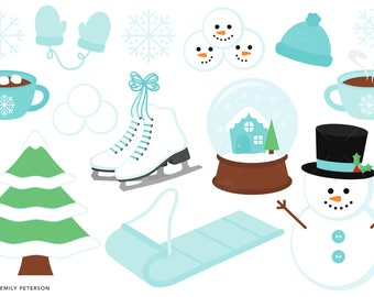 Winter, Snowman, Snowflakes, Mittens - Cute Clipart, Clip Art - Commercial Use, Instant Download - V3