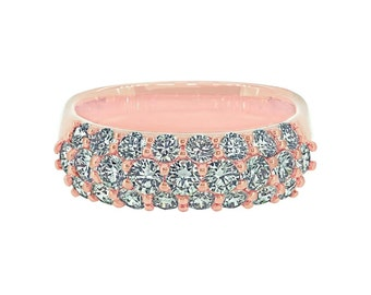 European Dome Diamond Pave Ring in 18K Rose Gold (25 stones)