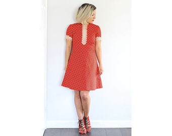 Vintage 1960s red spotted lace overlay spotted mini dress
