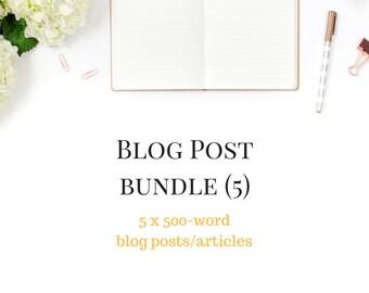 Ultimate Blog Bundle - 5 Blog Articles -  5 Blogs for Your Website - 5 x 500 Word Articles - Custom Blog - Custom Content