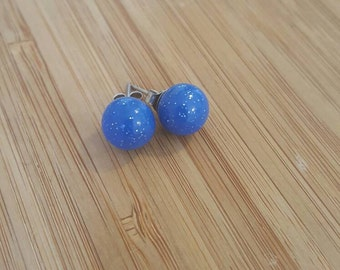 Royal blue glitter polymer clay stud earrings