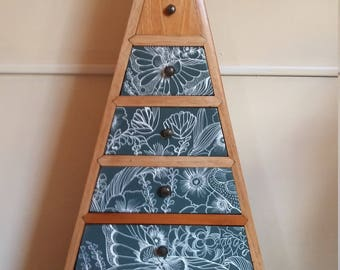 Upcycled hand painted pyramid chest of draws