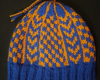 Blue & Orange Checkered Winter Hat - Hand Knit