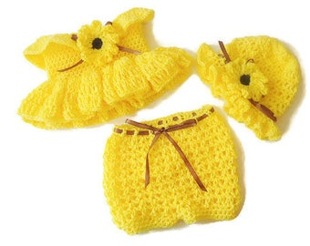 Yellow Crochet Baby Outfit, Newborn Yellow Outfit, Spring Crochet Set, Infant Dress, Diaper Cover and Hat, Baby Gift, Coming Home Outfit