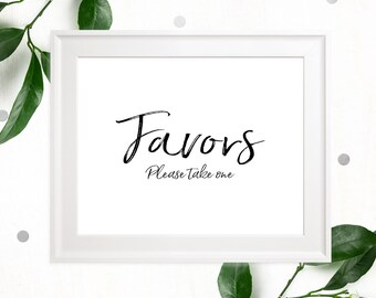 Printable Favors Sign-Calligraphy Wedding Favor-DIY Handwritten Style Wedding Ceremony Reception Sign-Stylish Hand Lettered Please take one