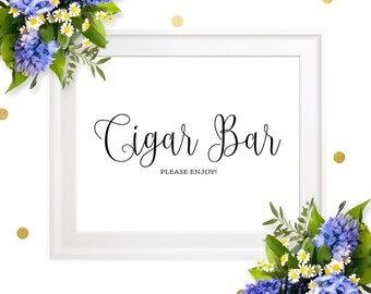 Cigar Bar Wedding Sign-Chic Calligraphy Cigar Bar Please Enjoy Sign-DIY Printable Cigar Sign for Rustic Wedding-Groomsmen Cigars Party