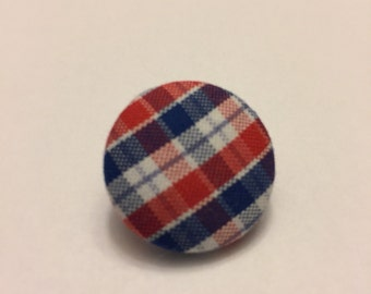 Red, white, & blue plaid pin
