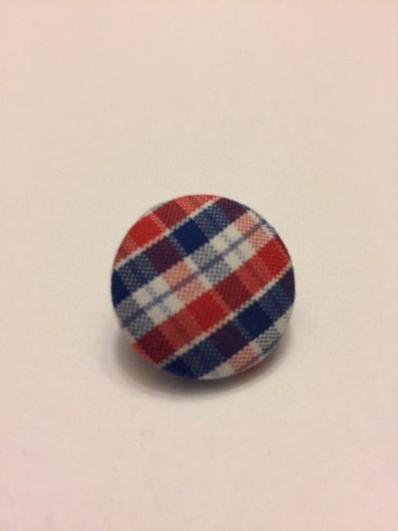 Red, white, & blue plaid pin