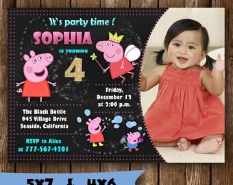 Peppa Pig invitation peppa pig birthday invitation peppa pig party invitations peppa pig invite card tickets printable invites supplies