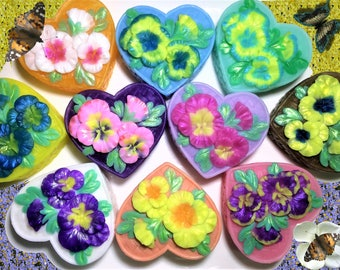 Flower Soap, Pansy Soap,Heart Soap,Pansy in the Basket,Wedding Favor,Bridal Shower,Party Favor, Valentine's Day,Birthday Gift, Gift for Her.