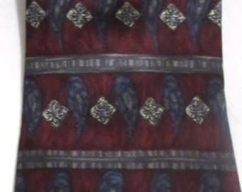 New HENRY GRETHEL 100% Silk Red Blue and Silver Striped and Paisley Patterned  Vintage Necktie Orig Price 85.00