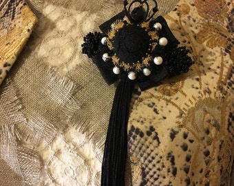 Black brooch, handmade brooch, crown, swarowski pearls, swarowski crystals, tassel brooch,luxury brooch, luxury medal,high fashion accessory