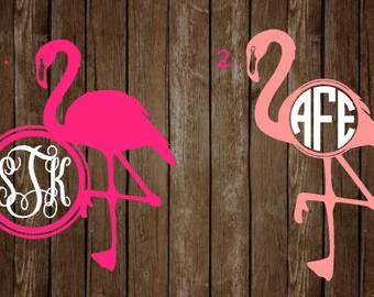 Flamingo Monogram Decals