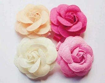 Four Vivid Colors Rose Flower Hair-Clips