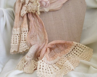 Shabby Chic Nuno felted scarf, Hand dyed silk, Merino Wool.