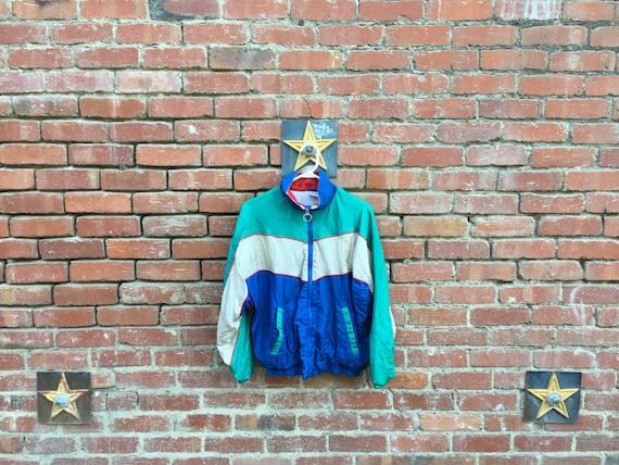 Grey Fox Jacket / 80s 90s Colorblock Windbreaker Blue Grey Green Red