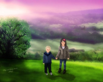 Personalised Sibling Portrait, Custom Portrait of Siblings in a Favourite Background, Bespoke Illustration, Gift Ideas, Portrait from Photos