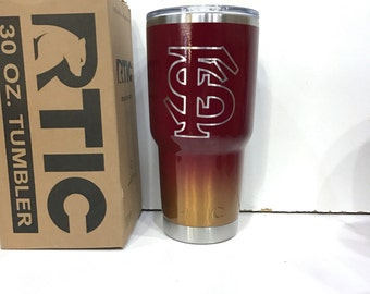 Custom Powder Coated 30 or 20 oz RTIC Rambler/Tumbler/Cup Florida State University FSU Seminoles Ombre Fade Personalized Add Your Name