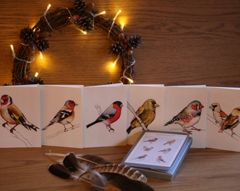 Finches - set of six A6 cards