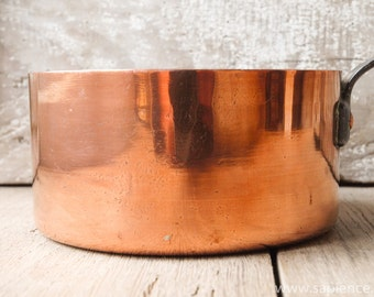 Antique French heavy copper pan, casserole or cookware pot