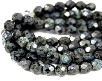 50/pc Jet Picasso 6mm Faceted Czech Beads