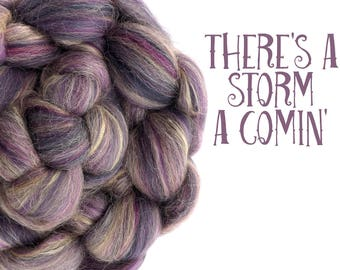 Blended top - Spinning fibre - 100g - 3.5oz - Merino - Alpaca - Silk - Mauve -  THERE'S A STORM....