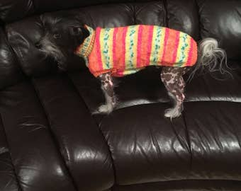 Hand knitted dog coat