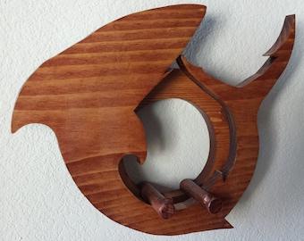 Ukulele wall mount hanger - Great White Shark - mahogany finish