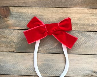 The Harper- Cherry Red-  baby bow, nylon baby bow, toddler bow, toddler clip, baby clip, velvet bow, red bow, red baby bow, baby Headband