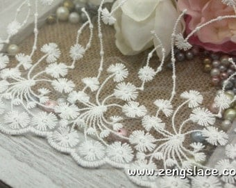 Off-white wide mesh lace fabric with dandelion flower pattern and scalloped edge, wedding lace trim, bridal lace by the yard, EL-59