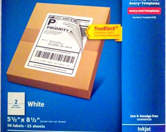 Avery Shipping, Mailing Labels 50 - 5.5 x 5.8 inch (8126) TrueBlock