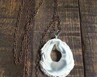White Agate Pendant Necklace Rust Chain