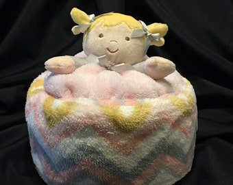 Girl Diaper Cake Gift with Plush Baby Blanket And A Security Blanket