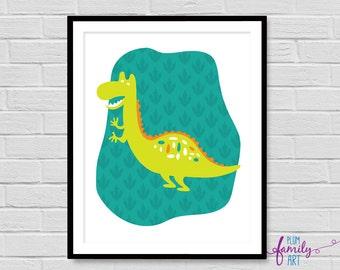 Dinosaur Poster, Kids Room Dinosaur Print, Boys Room Print, Modern Dinosaur Print, Boys Nursery Print Dinosaur