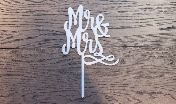 Mr & Mrs cake topper - laser cut acrylic or wood