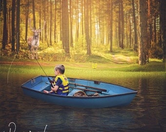 Row Boat in the Forest Digital Background - Boat Digital Background - Water Digital Background - Deer Photography Prop - Instant Download