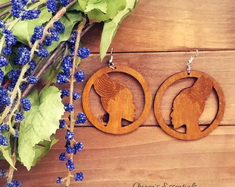 African Braided Bun Wood Earrings