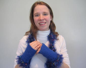 Royal Blue Scarf with Fingerless Mitten Set