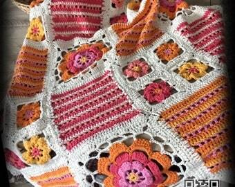 100% cotton crochet blanket 90 x 150 cm (= 35 x 60 inch)/cover blanket/bedspread/living blanket