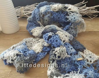 Fine crochet scarf ca. 40 x 150 cm blue/grey-By Itte-