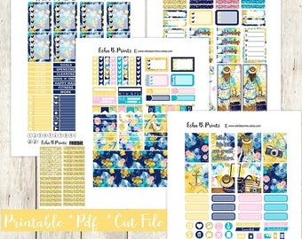 Adventure Awaits Printable Planner Stickers/Weekly Kit/For Use with Erin Condren/Cutfile Fall September Travel Tropical Vacation Glam