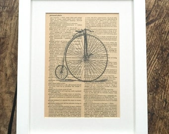 Vintage Printed Book Pages Penny Farthing Bicycle Print on Aged Book Page
